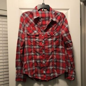 Foxy Plaid Flannel Button Up